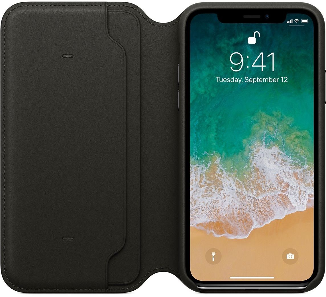 Кожаный чехол Apple iPhone X Leather Folio - Black, слайд 2