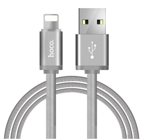 HOCO U5 Metal Lightning Cable 1.2m - Silver, картинка 1