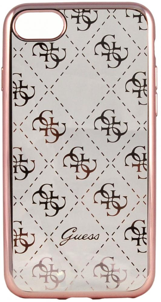 Чехол Guess iPhone 7 Clear Hard TPU Case - Rose Gold, картинка 1