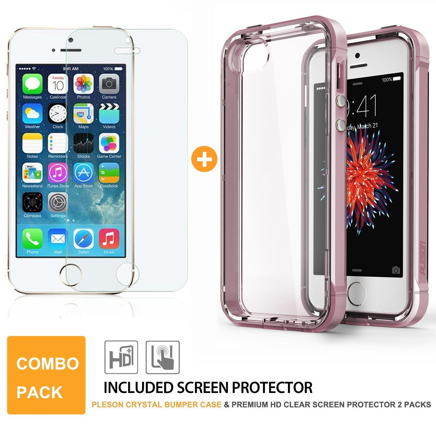 Pleson iPhone 5S/SE ISE Case - Clear/Pink, картинка 3