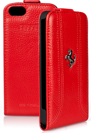 Чехол Ferrari iPhone 5S/SE Flip FF - Red
