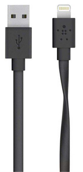 Belkin Mixit Flat Lightning Cable 1.2m - Black, картинка 1