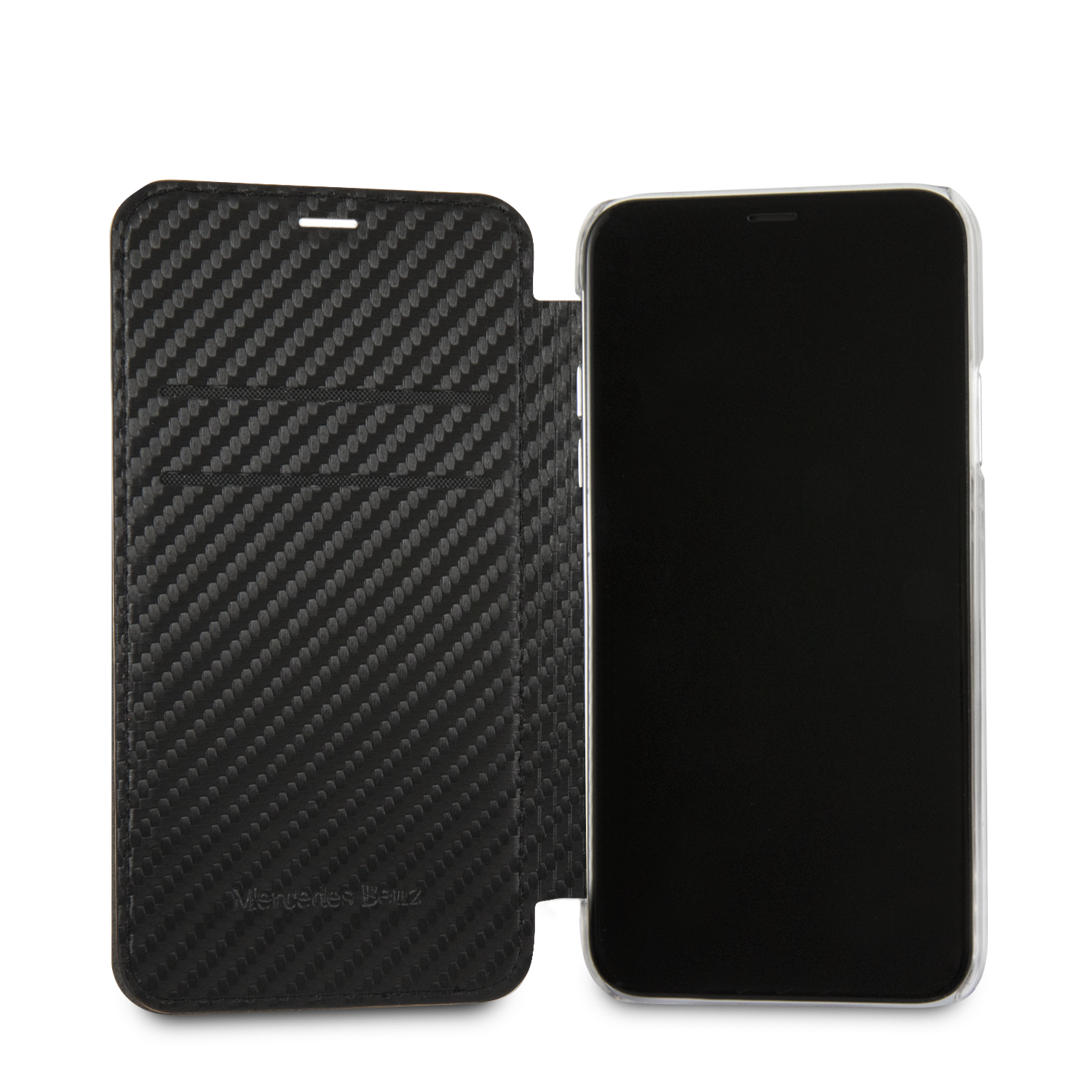 Mercedes iPhone X Dynamic Bookcase Carbon Black, картинка 4