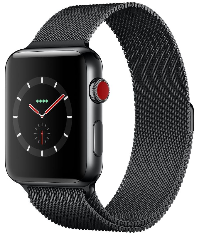 Apple Watch S3 (GPS+LTE) 42mm Space Black Stainless Steel Case/Space Black Milanese Loop (MR1L2), картинка 1