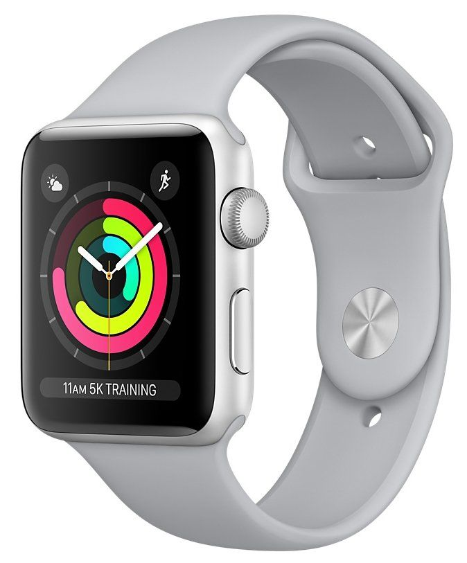 Apple Watch S3 (GPS) 38mm Silver Aluminum/Fog Sport Band (MQKU2), картинка 1