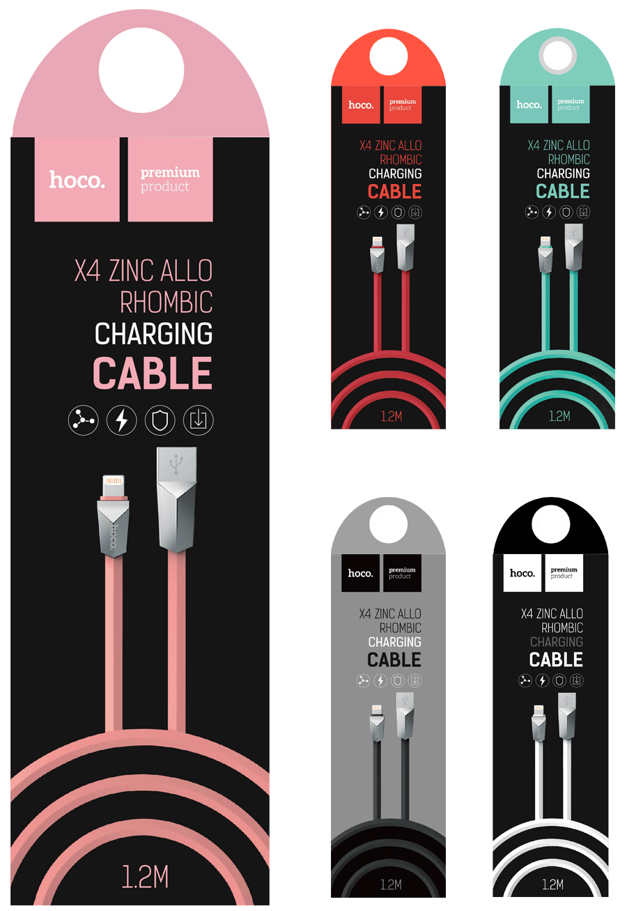 HOCO X4 Zinc Rhombic Lightning Cable 1.2m - Red, картинка 2