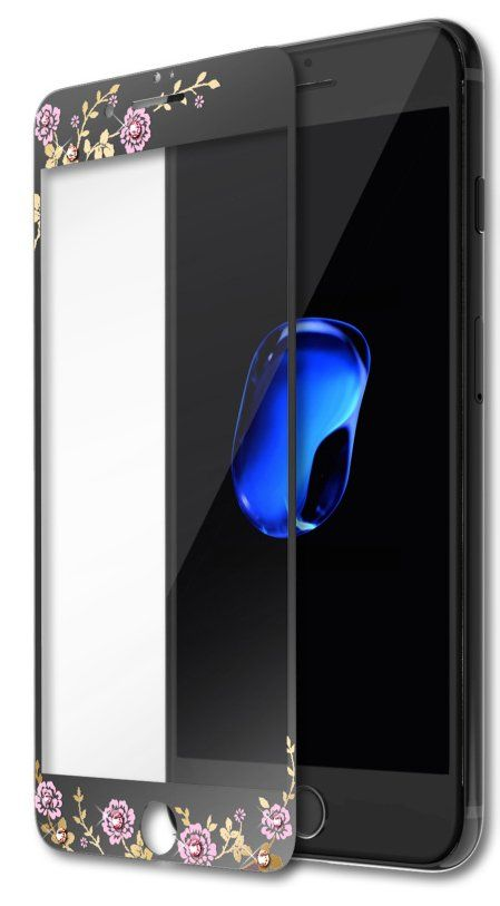 Kavaro iPhone 7 Flower Tempered Glass - Black