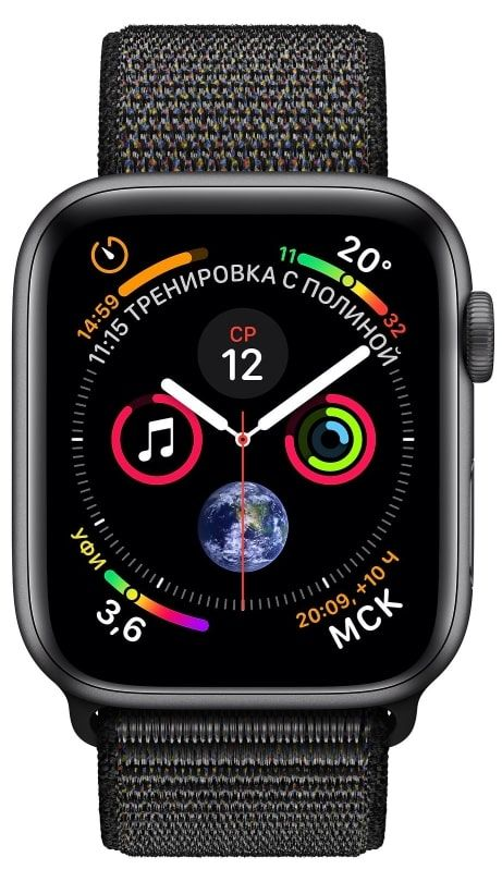 Часы Apple Watch S4 (GPS) 44mm Space Gray Aluminum/Black Sport Loop (MU6E2), картинка 2