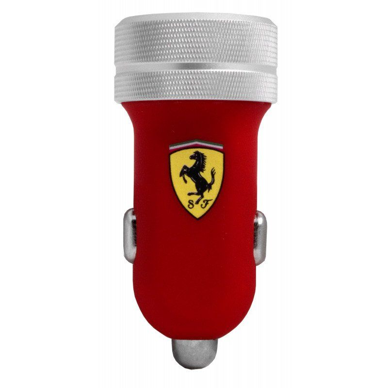 Ferrari Car Charger 2 USB 2.1A + Lightning + 30 pin Cable - Red, картинка 1