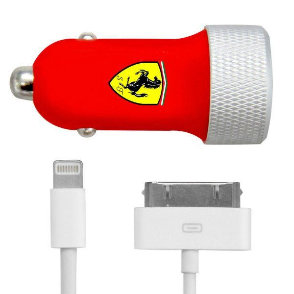 Ferrari Car Charger 2 USB 2.1A + Lightning + 30 pin Cable - Red, картинка 3
