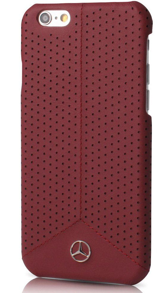 Mercedes WAVE II iPhone 7 Plus Leather Perforated Hard Case Red