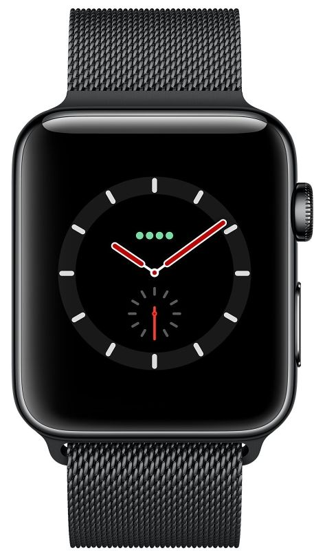 Apple Watch S3 (GPS+LTE) 42mm Space Black Stainless Steel Case/Space Black Milanese Loop (MR1L2), картинка 2