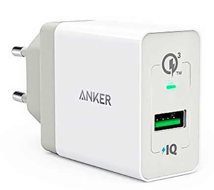 СЗУ Anker PowerPort+ 18W USBx1 3A QC 3.0 - White