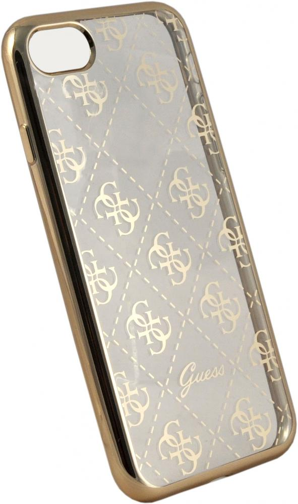 Guess iPhone 7 Clear Hard TPU Case - Gold, картинка 2