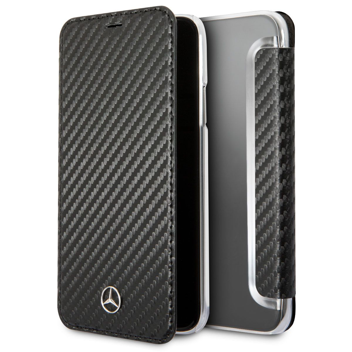 Mercedes iPhone X Dynamic Bookcase Carbon Black, картинка 1