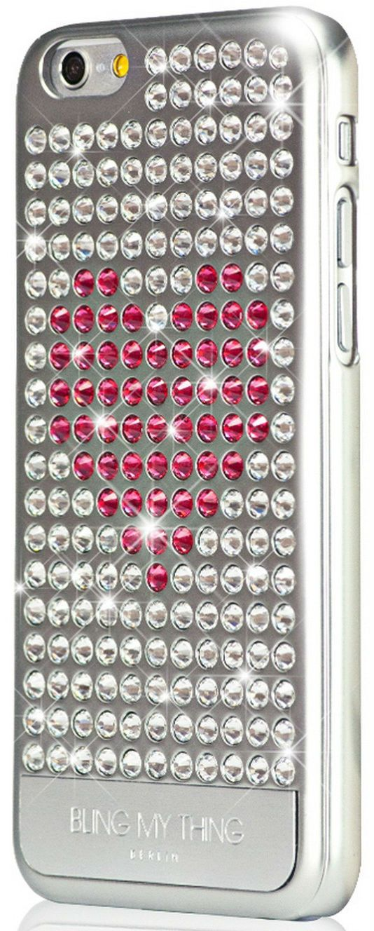 Bling My Thing iPhone 6 Swarovski Extravaganza Pink Heart Silver, картинка 2