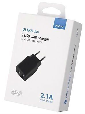 Deppa 2 USB Wall Charger 2.1A - Black, картинка 3