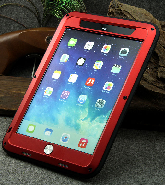 Love Mei Powerfull iPad Air 2 Metall Case - Red, картинка 2