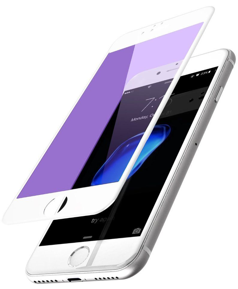 TOTU 3D Tempered Glass iPhone 7 Plus Anti BlueRay White, картинка 1