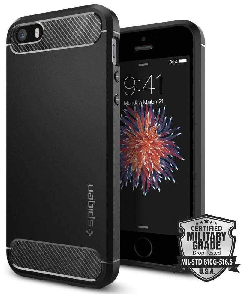 SGP  iPhone 5S/SE Rugged Armor - Black, картинка 1